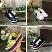 Wholesale lime green wedge - 2018 High Quality Wedges Woman Causal Shoes Fashion Designer Colorful Thick Heel Height Increasing Lace Up Cheap Sneaker Show Shoes With Box
