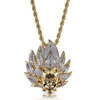 Wholesale anime skeleton for sale - Hip Hop Gold Color Plated Iced Out Micro Pave Zircon Super Saiyan Anime Character Pendant Necklace with Inch Rope Chain