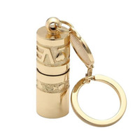 Wholesale lamp keychain online - New Arrival Mini Golden Portable LED Flashlight Handheld Waterproof Outdoor Keychain Torch Chinese Art Lamp Novelty Items