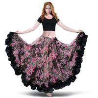 ingrosso belly dance costume dress-2018 New Bellydance Bohemian Chiffon Gonne Larghe Gypsy Tribal Danza del ventre Gonna Gypsie Costume Dress Flamingo Abbigliamento 6041