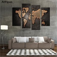 Wholesale Large Canvas Paintings Wall Decor - Wholesale-AtFipan New World Map Painting Canvas Prints Large Wall Art Europe Vintage Maps Picture Living Room Study Office Decor No Frame