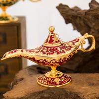 ingrosso 12 fate-Fiaba Aladdin Magic Lamp Vintage Censer Bruciatore di aromi in metallo creativo Bruciatori di incenso a più colori Nuovo arrivo 35 * 12 * 18.5 cm 660
