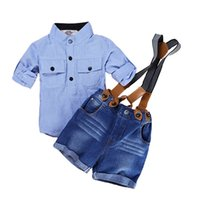 Wholesale white duck costume - Casual Summer Gentleman Style Kids Boys Clothing Sets Cotton Sling Strap Costume Shirt Short Jeans Boys Clothes Suits
