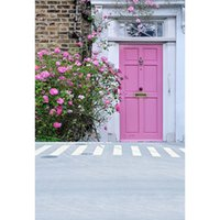 Wholesale Street Photography Backdrops Pink Flowers Door Brick Wall Backgrounds for Photo Studio Portrait Photocall Baby Shower Children