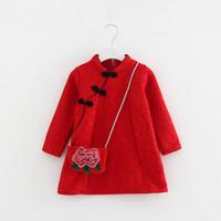 ko groihandel-Mädchen Kleidung Chinesischen Stil Cheongsam Plus Samt Mädchen Kleid Herbst Winter Kinder Kleinkind Mädchen Kleidung Neujahr Kleidung Mantel mit Tasche