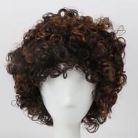 erkek sentetik perukalar toptan satış-Siyah Kadınlar için kısa Kahverengi Afro Kinky Kıvırcık Peruk Sentetik Saç Günlük Parti Cosplay Peruk Erkekler için Yüksek Sıcaklık Fiber Sentetik Peruk