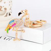 Wholesale led flashlight online - Women Men Flamingo Diamond Insert Key Buckle Bag Car Decorate Pendant Colorful Metal Alloy Keychain For Gifts zh ff