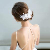 ingrosso clip di capelli della ragazza di fiore bianco-Fashion White Yarn Flower Hair Clip Girls Party Floral Barrettes Copricapo da sposa Matrimonio Hairgrips Regali di copricapo fatti a mano