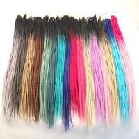 trenzas de dos tonos de color al por mayor-Pelo trenzado sintético Ombre Senegalés Twist 24inch Dos tonos Crochet Trenzado Extensiones de cabello sintético Color personalizado