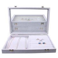 Wholesale glass ring display case resale online - 2018 Gray Velvet Glass Jewelry Box Rings Necklaces Storage Display Box Makeup Holder Case Organizer Ear Studs Jewelery Storage