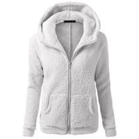 Wholesale lamb coats women - Winter Women Hoodies Faux Lamb Fur Long Sleeve Sweatshirts Coat Female Solid Plus Size Zipper Gray Pink Fashion Hoodie