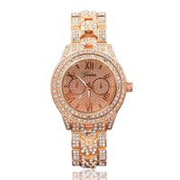 кварц гена смотреть женский золотой оптовых-Full Diamond Geneva Ladies Watches Metal Bracelet Quartz Wrist watch For Women Gold Sliver Crystal Watch Relojes Mujer montres femme