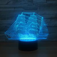 лампа с батарейным питанием оптовых-2018 лодка 3D иллюзия ночник 3D оптическая лампа AA батареи USB питание 7 RGB свет DC 5 в Оптовая Бесплатная доставка