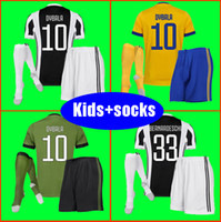 Wholesale Green Football Socks - Best 3A 17 18 kids Soccer jersey 2017 2018 MARCHISIO DYBALA HIGUAIN BONUCCI boys youth children Football soccer kits uniform with socks