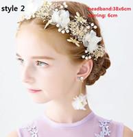 prinzessin perle kopfschmuck großhandel-8 Stil! Blumen-Mädchen-Haar-Verzierung für Hochzeit Reizende Mädchen-Stirnband simulierte Perlen-Blumen-Kronen-Tiara-weiße Prinzessin Headdress Hairwear
