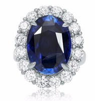 Wholesale Diamond Halo Wedding Ring - LARGE GIA CERTIFIED 14.94CT DIAMOND & AAA SAPPHIRE PLATINUM HALO ENGAGEMENT RING