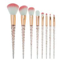 makyaj için kristaller toptan satış-Bella Cullen Kristal fırçalar makyaj 8 ADET Unicorn makyaj fırçalar pembe Saç karıştırma fırçası kozmetik fırça seti