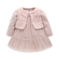Wholesale Baby Boys Long Sleeve Vest - Children Clothing Set Girls Faux Fur Vest+Princess Dress 2PCS Set Kids Long-sleeve Tulle Ruffled Dress Baby Christmas