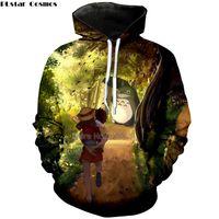totoro sweatshirts großhandel-PLstar Kosmos Harajuku Cartoon Anime Frauen / Männer Totoro Hoodies Miyazaki Kleidung Frühling Herbst 3D Print Totoro Mit Kapuze Sweatshirts