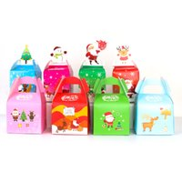 ingrosso scatole per mele caramelle-1PC cartone animato regalo Di Natale caramelle frutta scatola di frutta colorata scatola di Natale eve mela pieghevole cartoni carino borsa casual