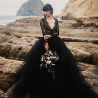 Wholesale black simple gothic wedding dresses for sale - 2018 Sexy Beach Black Wedding Dress Deep V Neck Illusion Long Sleeves Lace Top Tulle Skirt Gothic Backless Wedding Bridal Gowns withTrain