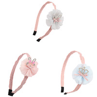Wholesale Pink Flower Hair Band - Baby Pink Hair bands With Chiffon Flower Rabbit Ear Boutique Hairband Kid Headband For Autumn Winter