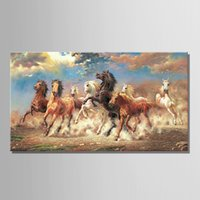 Wholesale Wall Decor Art Canvas Horses - 8 Running Horse Animal Modern Printed Oil Painting On Canvas Cotton Wall Paintings Picture For Living Room Wall Art Wall Decor