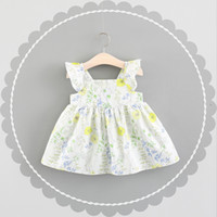Wholesale little korean girl clothes - Girls Ruffle Sleeves Floral Dresses Summer 2018 Kids Boutique Clothing Korean 1-4T Cute Little Girls Cotton Sleeveless Dresses Special Offer