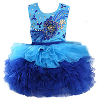 Wholesale toddlers pictures for sale - Halter scoop royal blue bead organza ball gown cupcake toddler little girls pageant dresses flower girl for weddings glitz