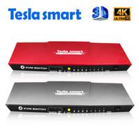 suporte do teclado usb venda por atacado-Tesla inteligente USB HDMI KVM Interruptor 4 Portas USB KVM Interruptor HDMI Suporte 3840 * 2160/4 K * 2 K IR Extra USB 2.0 Muitos MouseKeyboard Do Computador