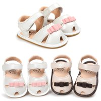 Wholesale Buckle Loop Wholesale - Summer Baby Girls Sandals Moccasins Toddler Soft Sole First Walkers PU Leather Hook & Loop Lovely Bow Toddler Shoes B11