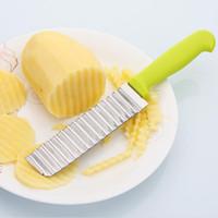 ingrosso coltello gratuito frutta tagliata-lama dell'onda dell'acciaio inossidabile coltello per patate professionale patatine fritte taglio bar frutta ondulazione coltello spedizione gratuita ZA6676