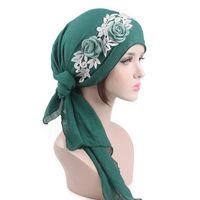 Wholesale church headband hat - Muslim Women Multifunctional Chiffon Long Tail Elastic Stretch Turban Head Scarf Hat Chemo Cap Headscarf Headband Headwear for Cancer