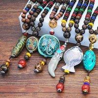 ingrosso legno buddista-Collana in pietra naturale Nepal Buddista Legno perline lunghe Collane lupo Denti Pendente tibetano Dichiarazione collier bois per Uomo Donna