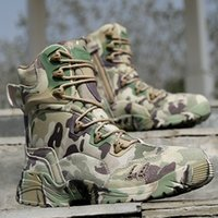 Wholesale Cowboy Footwear - Men Tactical Amry Boots Outdoor Camouflage Military Mens Safety Shoes High Top Breathable Desert Footwear Men's Combat Boots