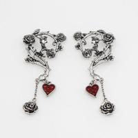 ingrosso orecchini gotici rossi-Gioielli da donna vintage gotico punk gotico con cuore rosso