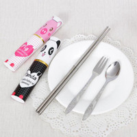 Wholesale Chopstick Spoon Fork - Cute Cartoon Portable Stainless Steel Tableware Chopsticks Fork Spoon Set Environmental Outdoor Travel Picnic Sets OOA4112