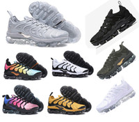 Wholesale high pack - High Quality NEW Vapormax TN Plus Olive In Metallic White Silver Colorways Shoes Men Shoes For Running Male Shoe Pack Triple Black Mens