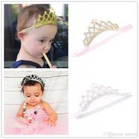 Wholesale elastic band crown - Baby Headbands Gold Silver Crown Sparkle Bands Girls Kids Elastic Star Hairbands Princess Tiara Headband Accessories Photo Props KHA161