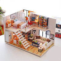 Wholesale craft miniatures wooden house online - Diy Miniature Wooden Doll House Furniture Kits Toys Handmade Craft Miniature Model Kit DollHouse Toys Gift For Children
