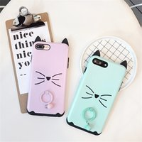 Wholesale cute cat ear iphone case - Cute Cartoon Cat Ear With Bell Pendant Phone Case For Iphone X Anti-Shock Phone Case For Iphone 6 7 8 Plus
