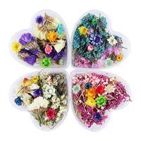 diy herzförmige kiste großhandel-1 Box Bunte Mixed Getrocknete Blumen Nail Art DIY Lavendel Konservierte Blume Mit Herzförmigen Box Glasflasche Dekoration DIY