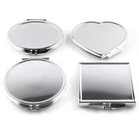 mini-kosmetikspiegel großhandel-Großhandel-CN-RUBR Verschiedene Formen Tragbarer Klappspiegel Mini Compact Edelstahl Metall Make-Up Kosmetische Taschenspiegel Für Makeup Tools