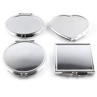 Wholesale mini cosmetic mirrors resale online - CN RUBR Various Shapes Portable Folding Mirror Mini Compact Stainless Steel Metal Makeup Cosmetic Pocket Mirror For Makeup Tools