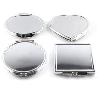 einfache taschenspiegel großhandel-Großhandel-CN-RUBR Verschiedene Formen Tragbarer Klappspiegel Mini Compact Edelstahl Metall Make-Up Kosmetische Taschenspiegel Für Makeup Tools