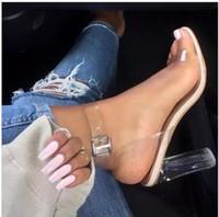 sandálias de tira clara venda por atacado-Venda quente de Verão Kim Kardashian PVC Transparente transparente sandálias de salto alto fivela cinta Gladiador moda feminina sapatos fábrica