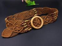 ingrosso donne intrecciate di cintura di corda-New Vintage corda di lana lavorata a maglia Vita di perline corda di donna Cintura liscia fibbia di donna Donna tessuta cava Cintura intrecciata a mano di perline