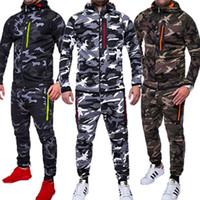 ensembles polaires pour hommes achat en gros de-HIRIGIN Mens Automne Hiver 2 PCS Vêtements Ensembles Crosshatch FULL Sweats + Jogging Polaire Long Pantalon Pantalon