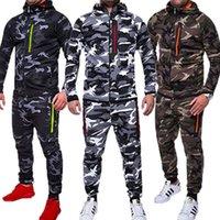 erkek fleece setleri toptan satış-HIRIGIN Mens Sonbahar Kış 2 ADET Giysi Setleri Crosshatch TAM Tişörtü + Koşu Polar Uzun Pantolon Pantolon