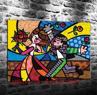 15 marco digital al por mayor-Romero Britto -15, Impresiones en lienzo Arte en la pared Pintura al óleo Decoración del hogar 24x32 20x27 16x20 12x16 (Sin enmarcar / Enmarcado)